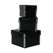 JAM PAPER Nesting Box Set, Small, Medium & Large, Black Plastic, 3/pack