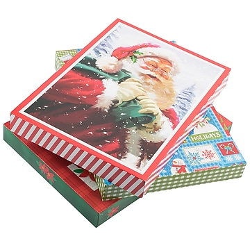 JAM PAPER Small Christmas Boxes, Lingerie / Blouse Size, 10 7/8 x 7 7/8 x 1 1/4, Classic Christmas Set, 3/Pack
