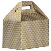 JAM PAPER Gable Gift Box with Handle, Medium, 4 x 8 x 5 1/4, Gold & Silver Diamond