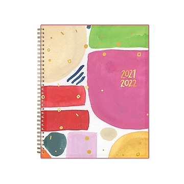 """2021-2022 Blue Sky 8.5"""" x 11"""" Academic Planner, Thimblepress Abstract Bubbly, Multicolor (130509)"""