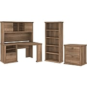 """Bush Furniture Yorktown 60""""W Corner Desk with Hutch, Lateral File Cabinet, and 5-Shelf Bookcase, Reclaimed Pine (YRK002RCP)"""