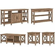 Bush Furniture Key West Tall TV Stand with Coffee Table, Console Table, and 2 End Tables, Reclaimed Pine (KWS026RCP)