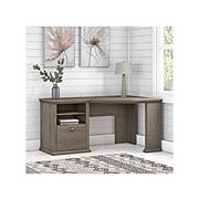 """Bush Furniture Yorktown 60"""" Corner Desk with Storage, Restored Gray (WC40615-03)"""