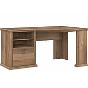 """Bush Furniture Yorktown 60"""" Corner Desk with Storage, Reclaimed Pine (WC40515-03)"""