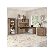 Bush Furniture Yorktown 60W L Shaped Desk with Hutch, Lateral File Cabinet and 5 Shelf Bookcase, Reclaimed Pine, (YRK003RCP)