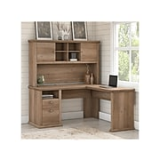 Bush Furniture Yorktown 60W L Shaped Desk with Hutch, Reclaimed Pine, (YRK001RCP)