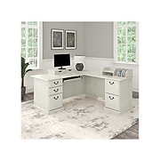 "Bush Furniture Saratoga 66"" L-Shaped Desk with Drawers and Desktop Organizers, Linen White Oak, (SAR010LW)"