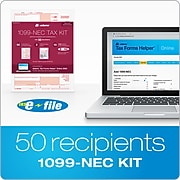 Adams 2020 1099-NEC Tax Forms, Access to Tax Forms Helper Online, 10 Free E-Files, 50/Pack (STAX55020-NEC)