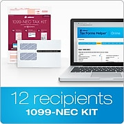 Adams 2020 1099-NEC Tax Forms with Self Seal Envelopes, Access to Tax Forms Helper Online, 12/Pack (STAX51220-NEC)