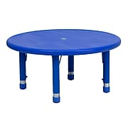 "Flash Furniture 14 1/2'' - 23 3/4'' H x 33"" W x 33"" D Plastic Round Activity Table, Blue"