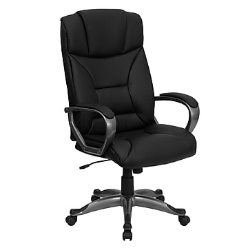 Flash Furniture High Back Leather Executive Office Swivel Chair With Titanium Nylon Loop Arms, Black