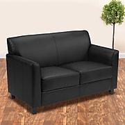 "Flash Furniture HERCULES Diplomat Series 52"" Faux Leather Loveseat, Black (BT-827-2-BK-GG)"