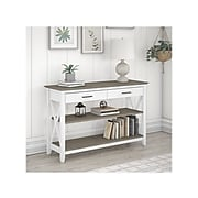 """Bush Furniture Key West 47"""" x 16"""" Console Table with Drawers and Shelves, Shiplap Gray/Pure White (KWT248G2W-03)"""