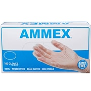 Ammex Powder-Free Vinyl Exam Gloves, Latex-Free - 100 Box
