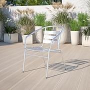 Flash Furniture Aluminum Commercial Indoor/Outdoor Restaurant Stack Chair, Triple-Slat Back TLH017B