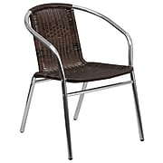 Flash Furniture Rattan Commercial Indoor-Outdoor Restaurant Stack Chair, Aluminum & Dark Brown