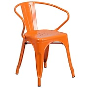 Flash Furniture Metal Indoor-Outdoor Chair with Arms, Orange Powder Coat Finish (CH31270OR)