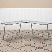 "Flash Furniture 84"" Glass L-Shape Computer Desk, Clear/Silver (NANCD22181)"