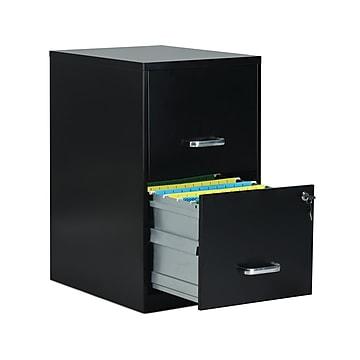 """Staples 2-Drawer Light Duty Vertical File Cabinet, Locking, Letter, Black, 18""""D (52149)"""