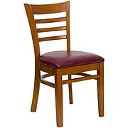 Flash Furniture Hercules Ladderback Wood Restaurant Chair, Cherry Finish w/Burgundy Vinyl