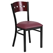 Flash Furniture Hercules Black 4-Square-Back Metal Restaurant Chair, Mahogany Wood Back, Burgundy