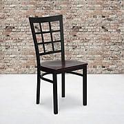 Flash Furniture Hercules Series Black Window Back Metal Restaurant Chair, Mahogany Wood