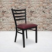 Flash Furniture Hercules Series Black Ladder Back Metal Restaurant Chair - Burgundy Vinyl