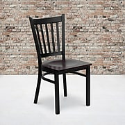 """Flash Furniture Hercules Series 17.25"""" Black Vertical Back Metal Restaurant Chair, Mahogany Wood"""