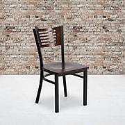 Flash Furniture Hercules Series Decorative Slat-Back Metal Restaurant Chair, Blk w/Walnut Wood Back