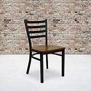 Flash Furniture Hercules Series Black Ladderback Metal Restaurant Chair, Cherry Wood
