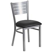 Flash Furniture HERCULES Series Metal Back Vinyl Restaurant Chair, Black/Silver (XU-DG-60401-BLKV-GG)