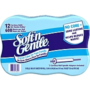 Georgia-Pacific Soft'n Gentle 2-ply Coreless Toilet Paper, White, 600 Sheets/Roll, 12 Rolls/Case (13325501)