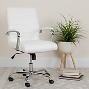 Mid-Back White Leather Executive Swivel Office Chair with Chrome Arms [GO-2286M-WH-GG]