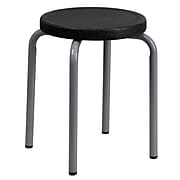 Flash Furniture Stackable Stool With Black Seat and Silver Powder Coated Frame, Black