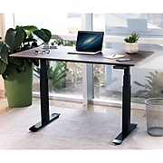 """Seville Classics AIRLIFT 26""""-51""""H Metal Electric Standing Desk, Black with Walnut Top (OFFK65826)"""