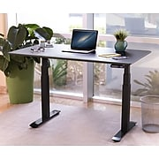"""Seville Classics AIRLIFT 26""""-51""""H Metal Electric Standing Desk, Black with Black Top (OFFK65818)"""