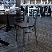 Flash Furniture HERCULES Ladder Back Metal Restaurant Chair; Walnut Wood Seat (XUDG694CLADWALW)