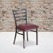 Flash Furniture HERCULES Ladder Back Metal Restaurant Chair; Burgundy Vinyl Seat (XUDG694CLADBURV)