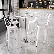 Flash Furniture 23.75'' Square Adjustable-Height White Wood Table (Adjustable 33'' to 40.5'') (CH1)