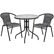 28'' Round Glass Metal Table with Gray Rattan Edging and 2 Gray Rattan Stack Chairs [TLH-087RD-037GY2-GG]