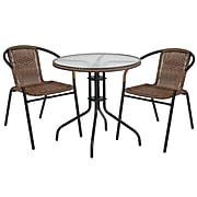 28'' Round Glass Metal Table with Dark Brown Rattan Edging and 2 Dark Brown Rattan Stack Chairs [TLH-087RD-037BN2-GG]