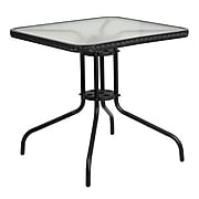 Flash Furniture 28'' Square Tempered Glass Metal Table with Black Rattan Edging (TLH-073R-BK-GG)