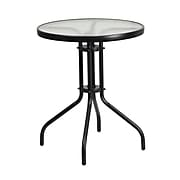 Flash Furniture 23.75'' Round Tempered Glass Metal Table (TLH-070-1-GG)