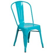 Crystal Teal-Blue Metal Indoor-Outdoor Stackable Chair (ET-3534-CB-GG)