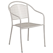 Light Gray Indoor-Outdoor Steel Patio Arm Chair with Round Back [CO-3-SIL-GG]