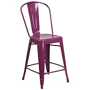 24'' High Purple Metal Indoor-Outdoor Counter Height Stool with Back [ET-3534-24-PUR-GG]