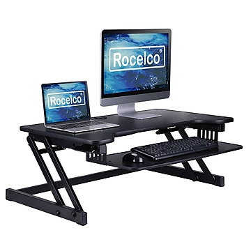 """Rocelco 37.5"""" Deluxe Height Adjustable Standing Desk Converter, Large Retractable Keyboard Tray, Black (R DADRB)"""