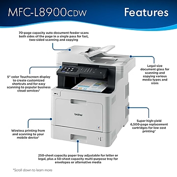 Brother MFC-L8900CDW USB, Wireless, Network Ready Color Laser All-In-One Printer