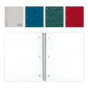 """National Brand Wirebound 1-Subject Pressboard Notebook, 11"""" x 8 1/2"""", College/Margin Ruled, 80 Sheets/Book (RED31987)"""