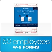 Adams 2020 W-2 Tax Forms, 6-Part, Includes W-3 Forms, 50/Pack (STAX620)